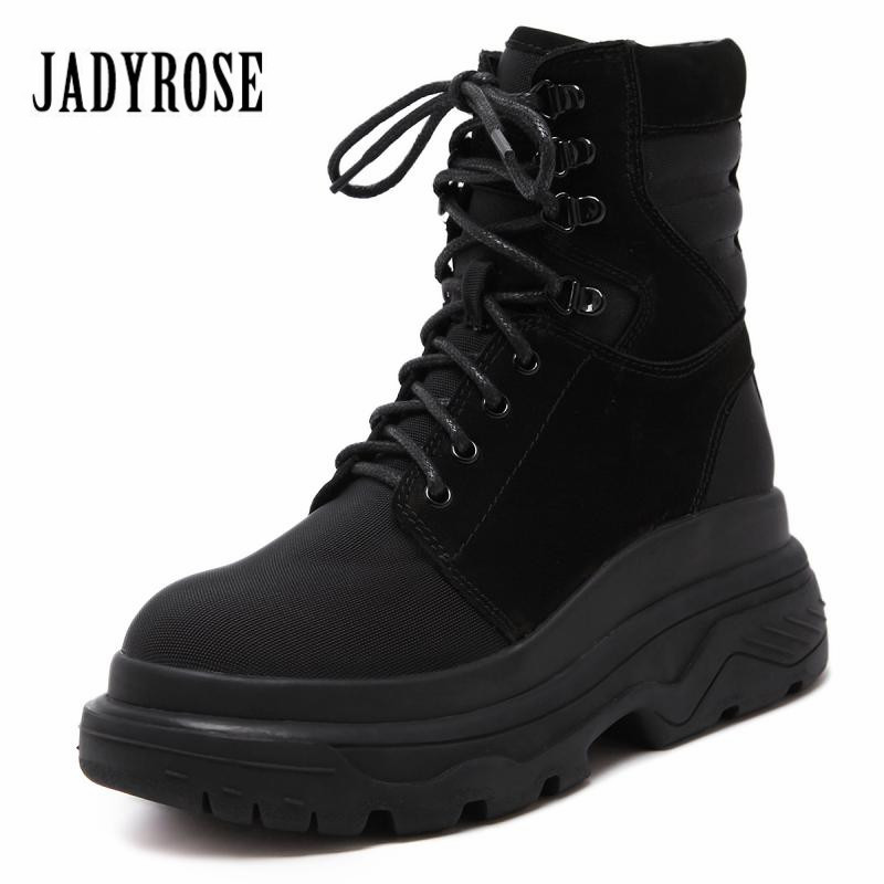 Jady Rose Vintage Women Martin Boots Lace Up Casual Short Botas Waterproof Winter Snow Boots Female Platform High Top Shoes jady rose handmade women genuine leather boot vintage straps buckle martin boots women mid calf rubber shoes woman botas