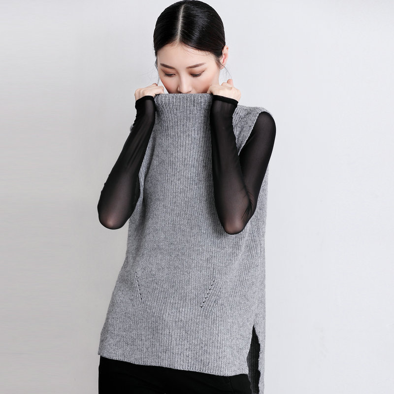 Spring autumn NEW lady Cashmere blended round neck Vest two-sided design knitting hedging Loose sleeveless Wool Sweater Vest
