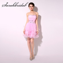 Pink Short Homecoming Dresses 2019 For Graduation Pleat Cocktail Prom Party Gown SD209 2020 light sky blue lace graduation short prom dresses bateau neck satin ruched mini homecoming party cocktail dress for girls