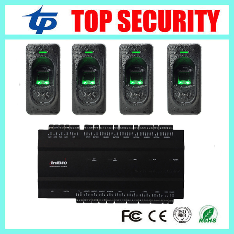 Free shipping 4 doors access control panel inbio460 access control system with FR1200 fingerprint access control reader