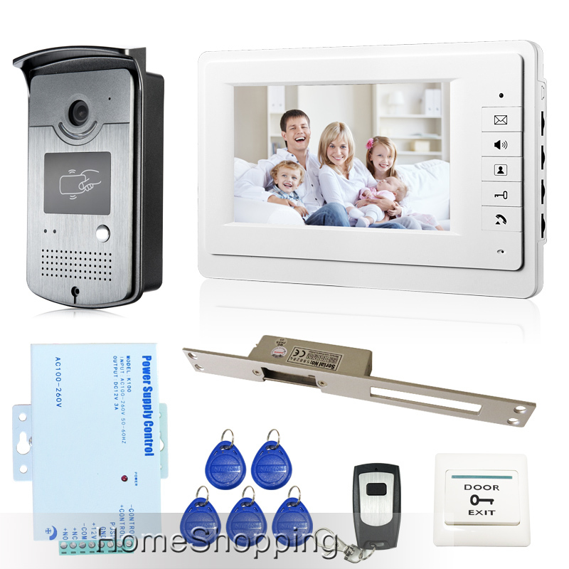 New Wired 7 Color Video Door Phone Intercom System 1 White Monitor RFID Access Door Camera + 250 Long Strike Lock FREE SHIPPING new 7 inch color video door phone intercom system 2 monitors rfid access door bell camera 250mm long strike lock free shipping