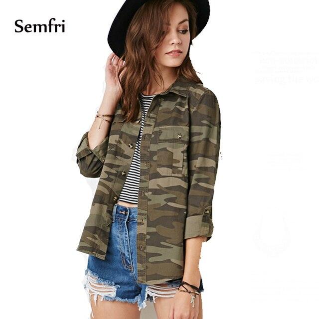 3a634084ceba Comprar Semfri camuflaje Chiffon blusa Mujer Tops y 2019 Streetwear ...
