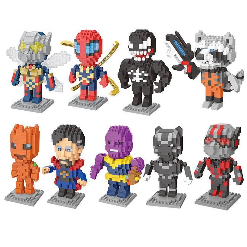 Avenger Endgame Diamond Particles Doll Bricks Captain Spider Man Iron Diamond Building Blocks Toys Compatible