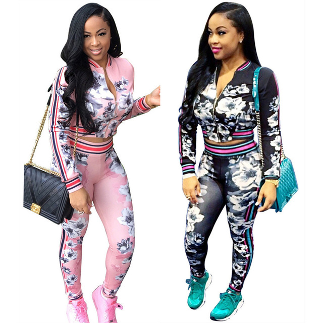 5a9aec0041788 2018 Autumn 2 Piece Set Women Crop Top and Pants Tracksuit Matching Sets  Winter Lady Print Plus Size Two Piece Outfits for Women