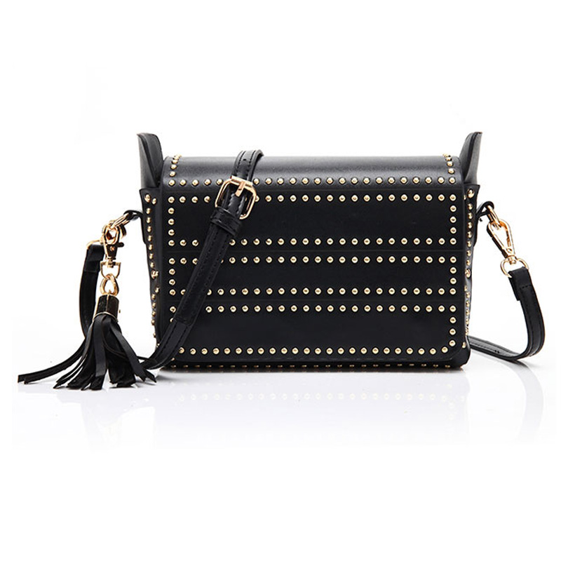 2018 Women Bag Fashion Women Messenger Bags Rivet Punk Shoulder Bag High Quality PU Leather Crossbody Small Flap Tassel Bags new punk fashion metal tassel pu leather folding envelope bag clutch bag ladies shoulder bag purse crossbody messenger bag