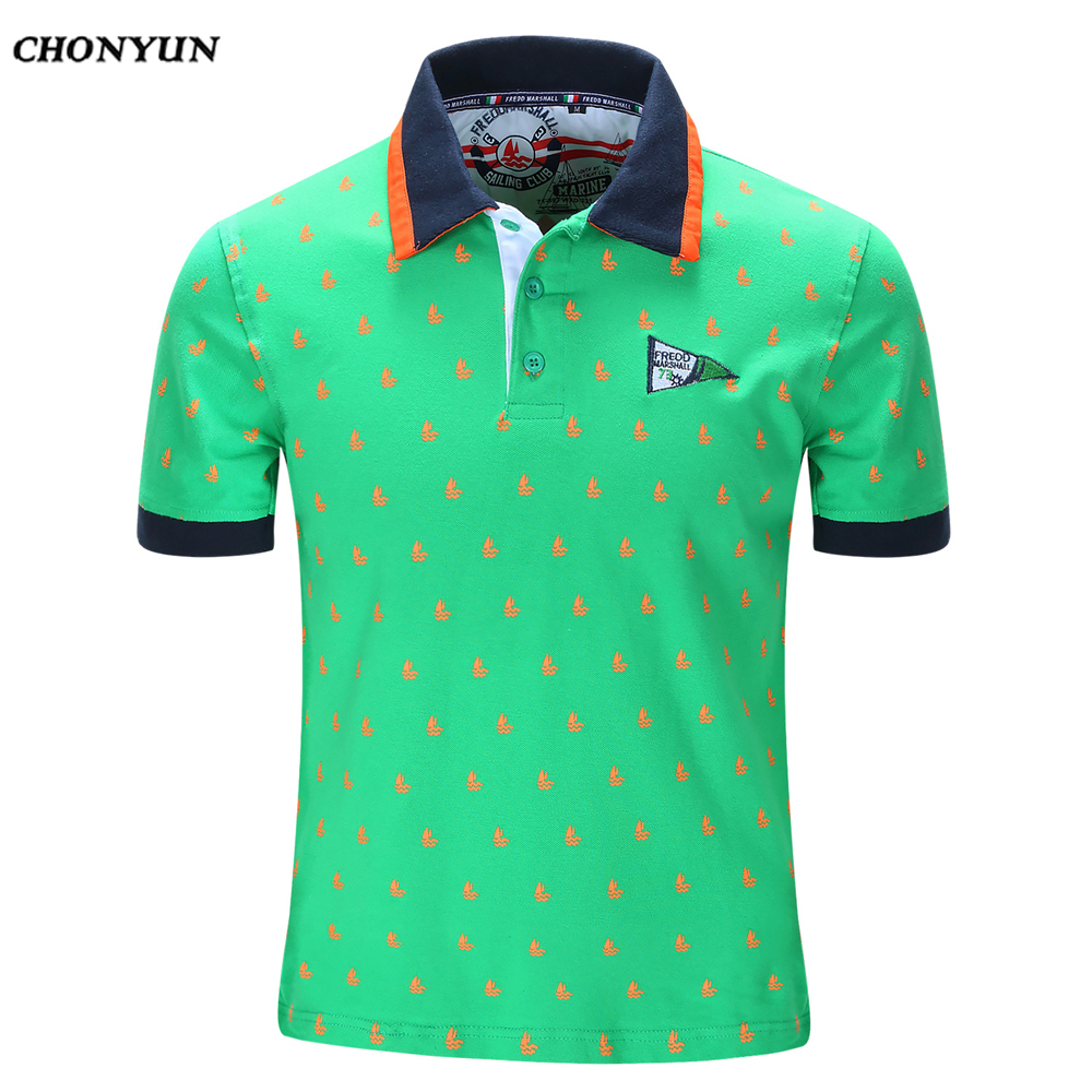 New Large Sizes Men's   Polo   Shirts Short Sleeve Vintage Print Tops&Tees Camisa   Polo   For Male 2019 High Quality Casual Shirts
