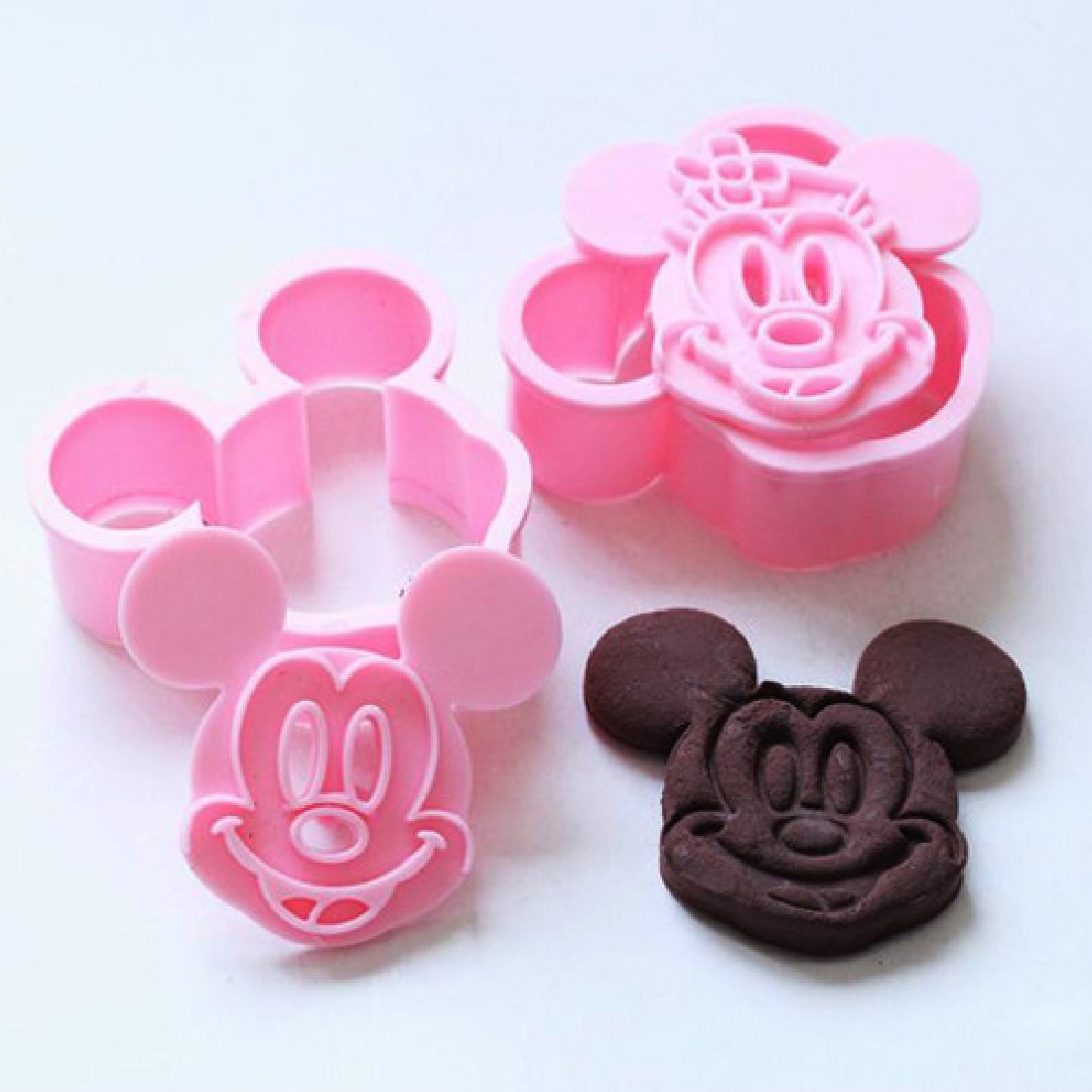 Whole Sale Mickey/Minnie Fondant Cake Cookie Decorating Sugarcraft Mold Plunger Cutter 2pcs