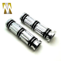 Pair 1 Inch Chrome Throttle Assist Bar Ends Motorcycle Rubber Handlebar Hand Grips For Harley Chopper