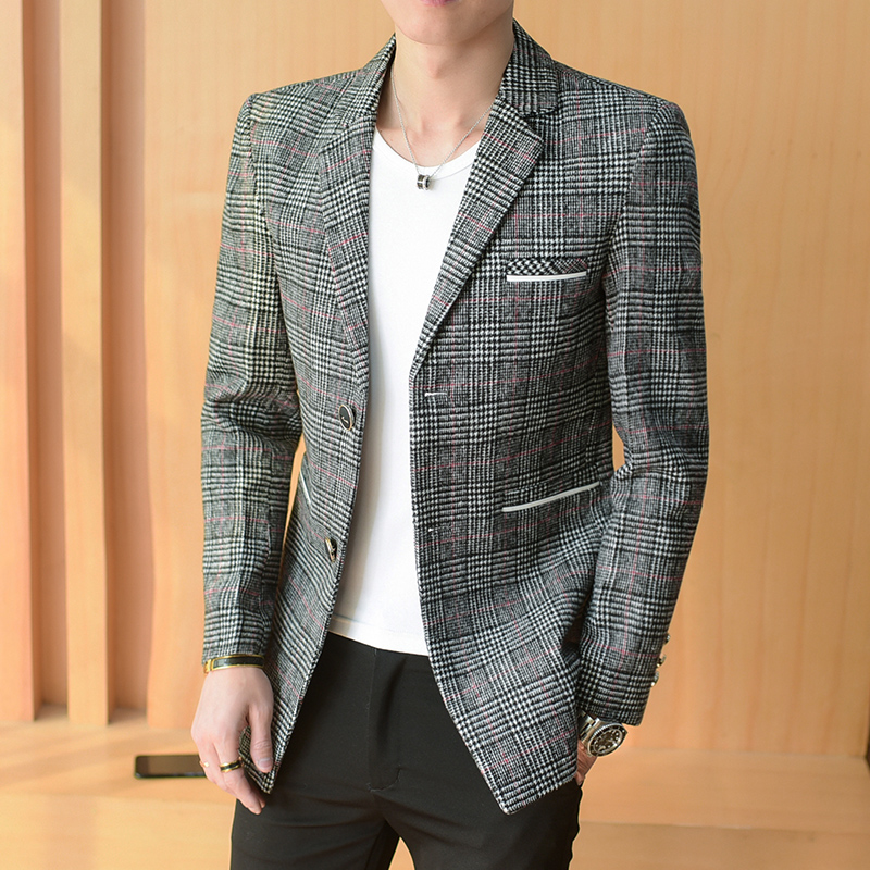 Autumn and Winter Men Long-sleeved lattice Suit Jackets Size 3XL Fashion Business Casual Mens Jacket Slim and elegant