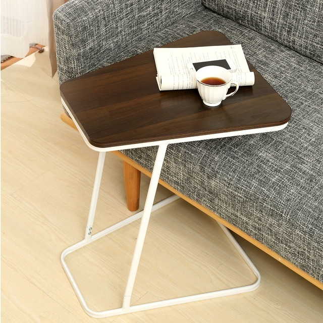 C Shape Small Side Computer Tray Table For Living Room Bedroom Toughened Wood Top
