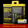 Original Nitecore D4 Digicharger Display LCD Carregador de Bateria AA Inteligente 2.0 Fit LI-ion 18650 14500 16340 26650 + Caixa de Varejo