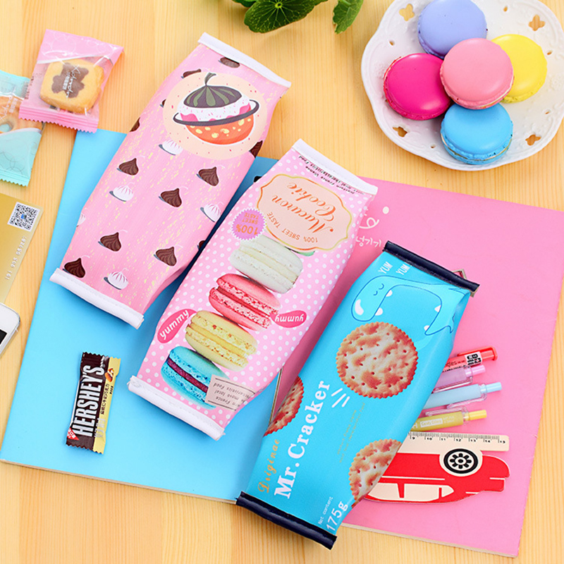 Kawaii Macaron Nut Biscuit Waterproof Pencil Cases Delicious Food Design Pencil Bag Office School Stationery Supplies