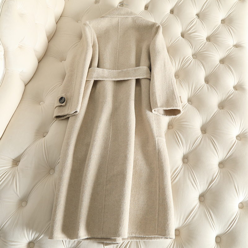 QIAN SI CHEN 19 Autumn New 100% Cashmere Coat Alpaca Warm Winter Coat Women Long Wool Coat Office Lady Slim Female Overcoat 29