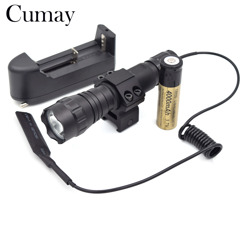 3800 Lumen XML T6 LED Tactical Flashlight 1 Mode Flash light Hunting Camping Linternas led Torch 18650 Battery Charger Gun Mount rechargeable 9000lm led flashlight xml t6 xml l2 waterproof 5 mode 18650 battery tactical hunting camping bicycle flash light