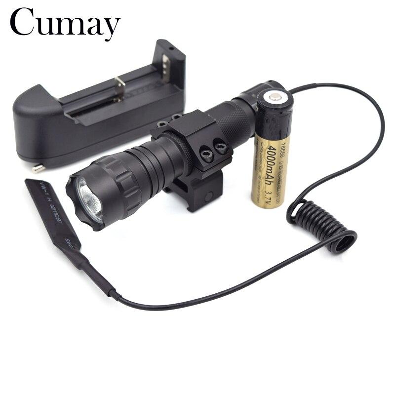 3800 Lumen XML T6 LED Tactique lampe de Poche 1 Mode Flash lumière Chasse zaklamp linterna led Torche 18650 Batterie Chargeur Pistolet montage