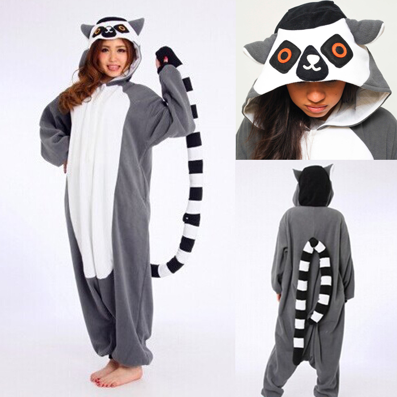 0ae9ce4d42c2 Animals Lemur Catta Onesie Jumpsuit Adult Women Cartoon Madagascar Monkey  Pajama Funny Costume Carnival Gray Long Tail Overall