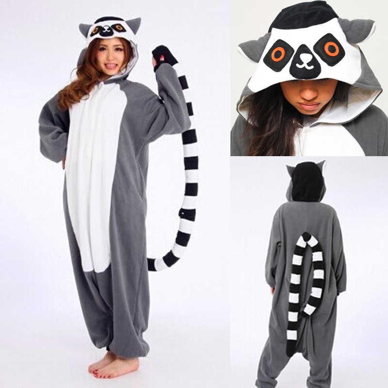 Животные Lemur Catta комбинезон для взрослых женщин мультфильм мадагаскар обезьяна Пижама Забавный костюм карнавальный серый длинный хвост комбинезон