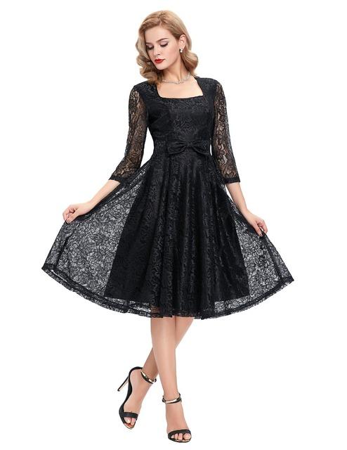 Summer Women Black Lace Swing Vintage Sexy Casual Party Elegant woman clothing Vestidos Robe Femme plus size Rockabilly dresses