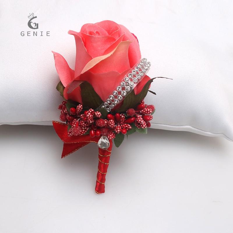 Genie 1 шт. красный Свадебные украшения Шелковый цветок розы костюм Бутоньерки для жениха дружки Best человек корсаж Интимные аксессуары Булавк…