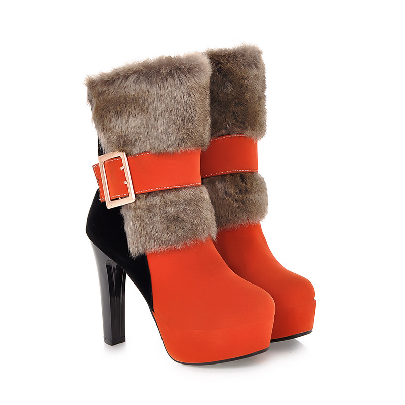Hot Sexy Green Black Orange Women Mid Calf  Martin Boots Platform Pumps Ladies Shoes High Heels Buckle A160 Plus Big size 43 10 zippers double buckle platform mid calf boots