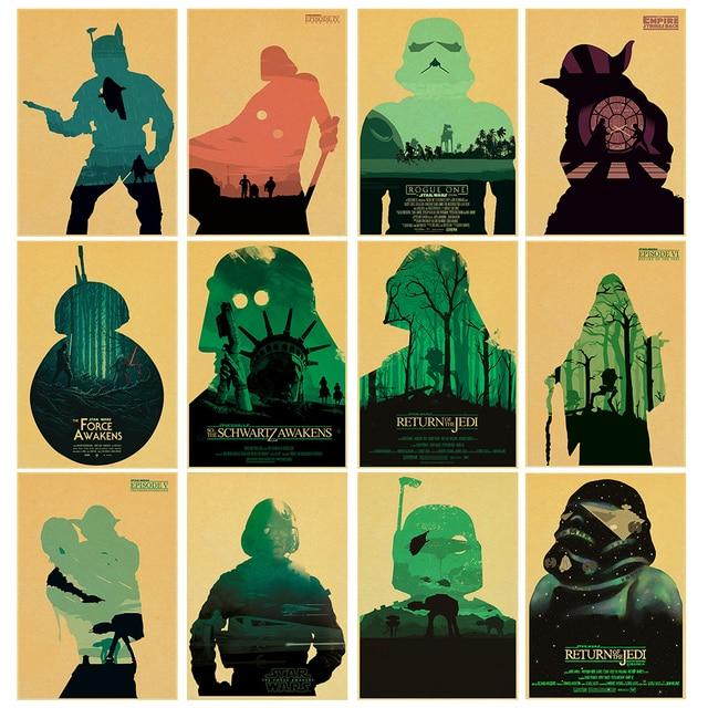 Star Wars ретро бумаги Плакат кафе Винтаж высокое качество печати плакат рисунок основной декоративная живопись