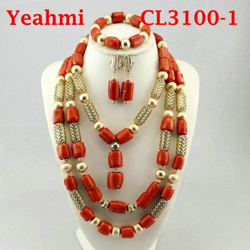 Africain nigérian mariage corail collier ensemble 2018 mode réel corail bijoux ensemble pour femmes or perles de mariée bijoux CL3100-1