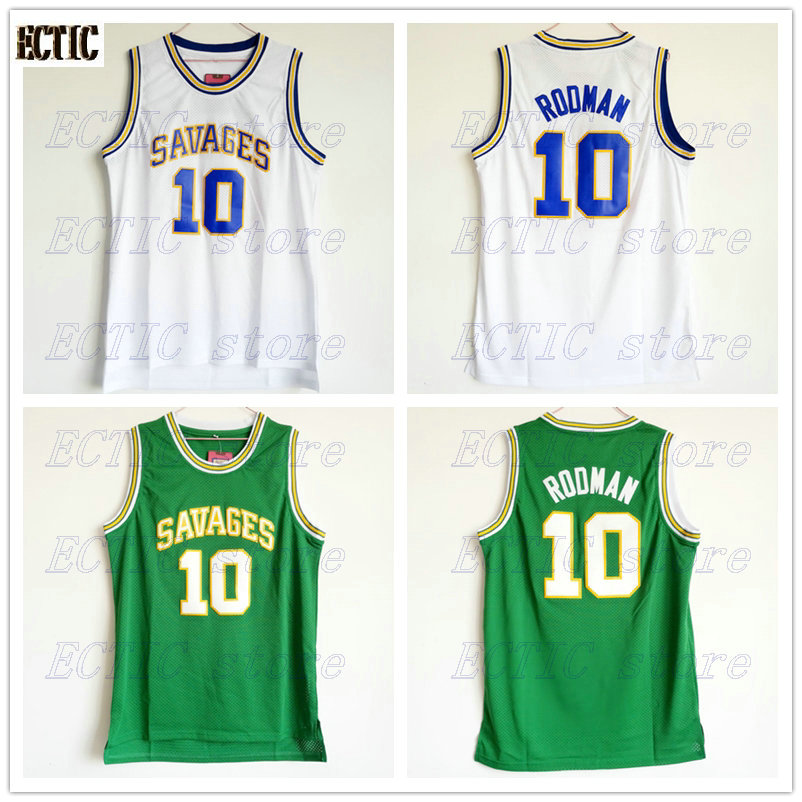 size 40 72637 9ab15 US $16.78 |2018 ECTIC Mens College Jersey Dennis Rodman Basketball Jerseys  Rodman 10 OKLAHOMA SAVAGES White Basketball Jersey Stitched-in Basketball  ...