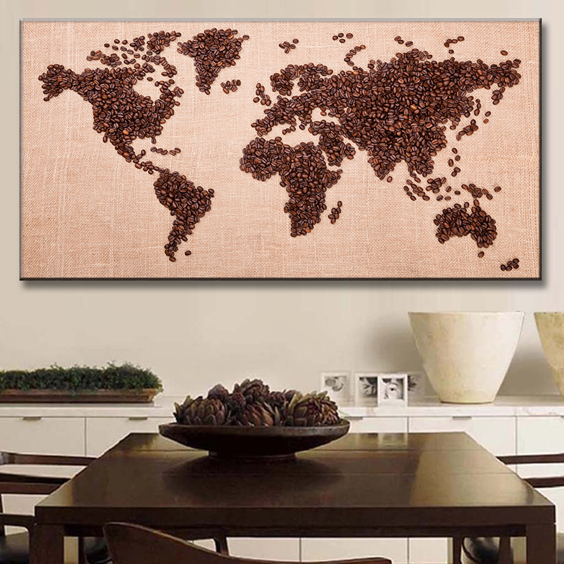1 pcsset huge picture world map canvas prints painting brown coffee 1 pcsset huge picture world map canvas prints painting brown coffee bean world map wall art for bar decor gumiabroncs Gallery