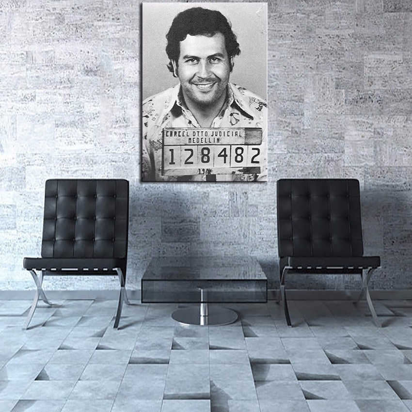 Pablo-Escobar-Character-Legend-Poster-Mug-Shot-Of-The-Suspect-Modern-Hotel-Living-Room-Wall-Art