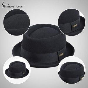 Image 4 - Sedancasesa 2020 남자 페도라 모자 패션 100% 순수 호주 양모 남자 모자와 돼지 고기 파이 모자 클래식 교회 양모 펠트 모자