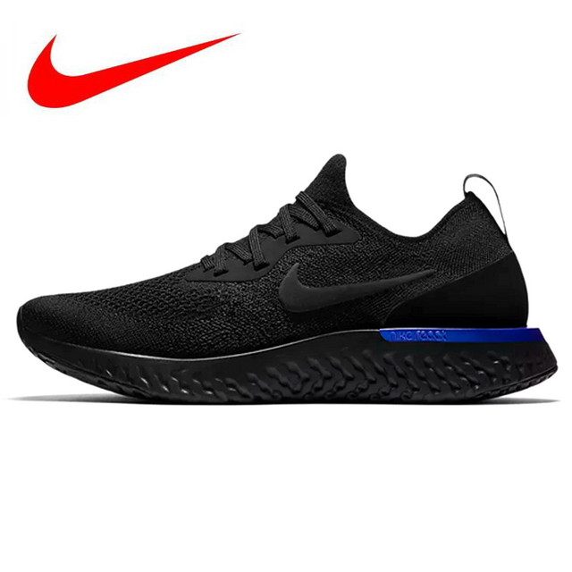 71e4d321112 US $101.49 49% OFF|Original Nike Epic React Flyknit Men's and Women's  Running Shoes, Black & Blue, Breathable Non slip Impact Resistant AQ0067  004-in ...