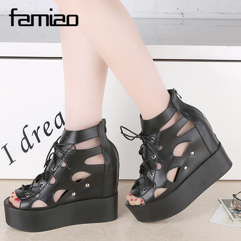 Fashion Women Sandals 2017 Summer Wedges gladiator Sandals Platform lace-up Flip Flops Open Toe High-heeled Women Shoes Female phyanic 2017 gladiator sandals gold silver shoes woman summer platform wedges glitters creepers casual women shoes phy3323