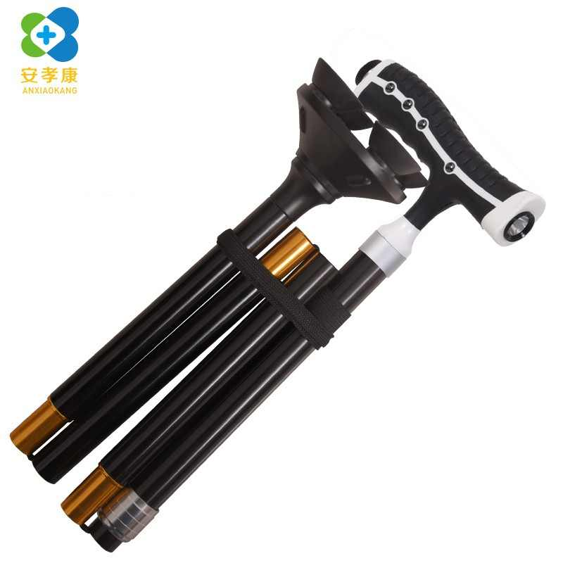 ANXIAOKANG Safe Reliable Old Man Crutches Folding Telescopic Magnetic Therapy Massage Four-legged Anti-skid Walking Stick