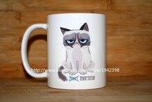 Mürrische Katze Guten Morgen machen ihre ownpicture kaffeetassen becher