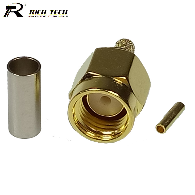 100pcs/lot High Quality RF Coaxial Cable Connector RP SMA Male Adapter Wire Connvertor for Coax Pigtail Cable RG316 RG178 RG174 8pcs rf cable connector mcx rf coaxial cable male plug adapter mcx usb modem tv antenna pigtail cable rg316 178 lmr100