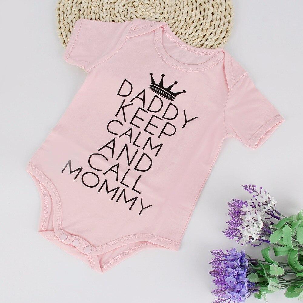 2018 מצחיק מכתב הדפסה תינוקות התינוק תינוקת התינוק הלבשה כותנה בגדי ילדים קצר שרוול ילדים בגדי תלבושת בגדי תלבושת
