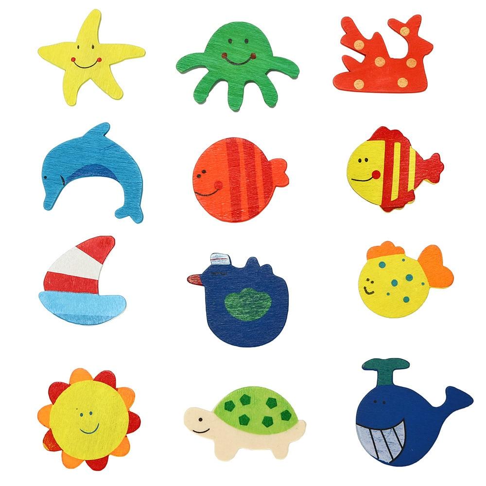 12Pcs/Set Fridge Magnet For Kids Wooden Cartoon Sea Animal Refrigerator Sticker Children  Home Office Gift Souvenir Decor F75