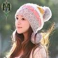 2017 мода зима шляпа женщина зима осень и зима вязаная шапка вязаная женская плюс бархат тепловая защита ухо колпачок