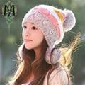 2017 moda inverno chapéu feminino inverno outono e inverno chapéu feito malha das mulheres de malha além de veludo cap ouvido protetor térmico