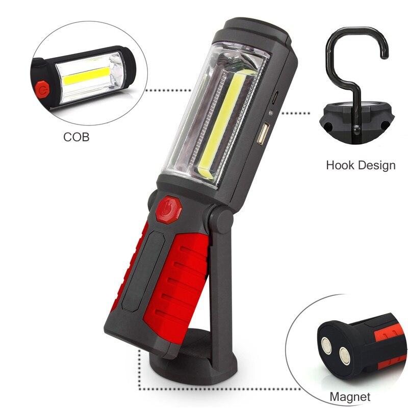 USB Wiederaufladbare LED Taschenlampe Arbeitslicht Stehen COB lanterna Magnetische HAKEN 18650 Batterie Taschenlampen für Outdoor