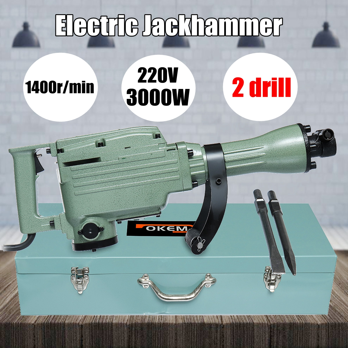 220V 3000W 1400r/min Electric Demolition Jack Hammer Concrete Breaker Drill Chisel Tool Kit NEW стоимость