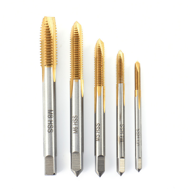 5pcs HSS Titanium Machine Right Hand Tap Drill 3 Flute M3 M4 M5 M6 M8 Spiral Point Thread Plug Handle Taps Die Set