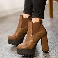 Marque Designers 2016 Nouveau Printemps Automne Femmes Chaussures Noir Haute Talons Bottes Laçage Plate-Forme Cheville Bottes Chunky Taille 35-39