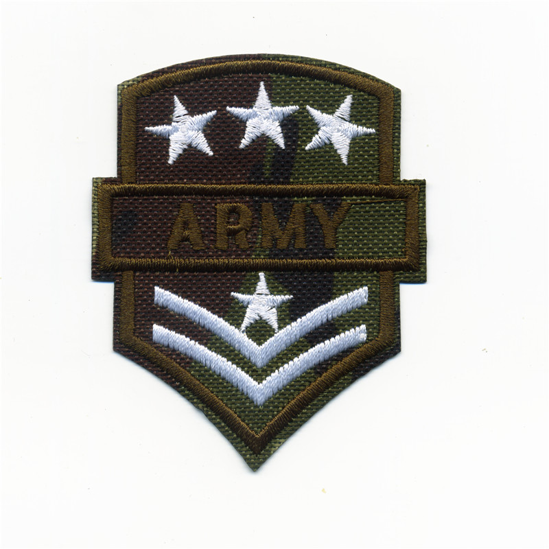 Tarmac Star Army V College Style Embroidery Patches Iron On Or Sew Fabric Sticker For Clothes Embroidered Badge DIY 6CM*7.5CM