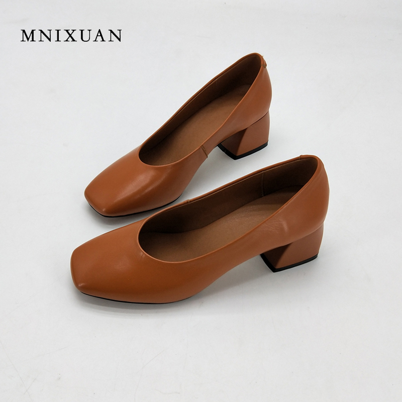 MNIXUAN office ladies shoes women pumps 2018 new arrival square toe block heels height 5cm solid shallow big size 34 43 black-in Women's Pumps from Shoes    1