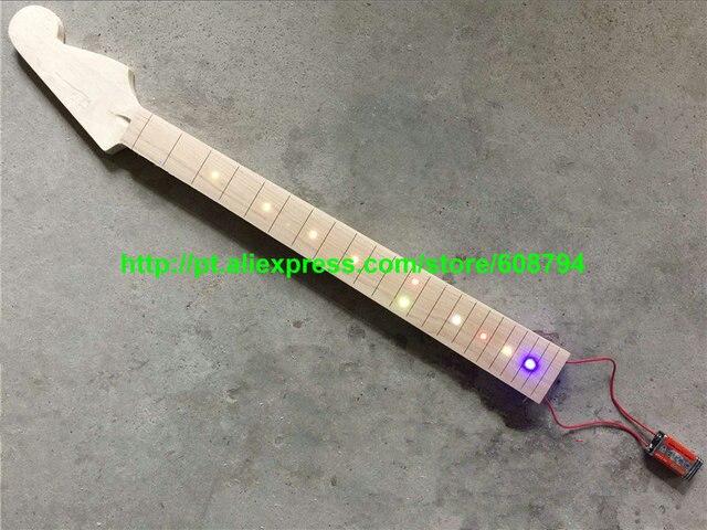 Benutzerdefinierte ahorn griffbrett e gitarre hals mit led