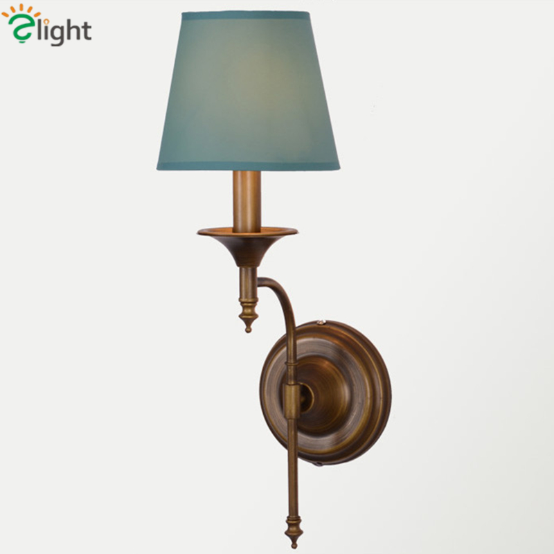 American Retro Metal E14 Led Wall Lamp Fabric Shades Bedroom Led Wall Lights Living Room Led Wall Light Corridor Wall Sconce bjornled america wall sconce copper wall lamp 2 arm fabric shade light living room restaurant cafe bedroom hotel e14 led lamp