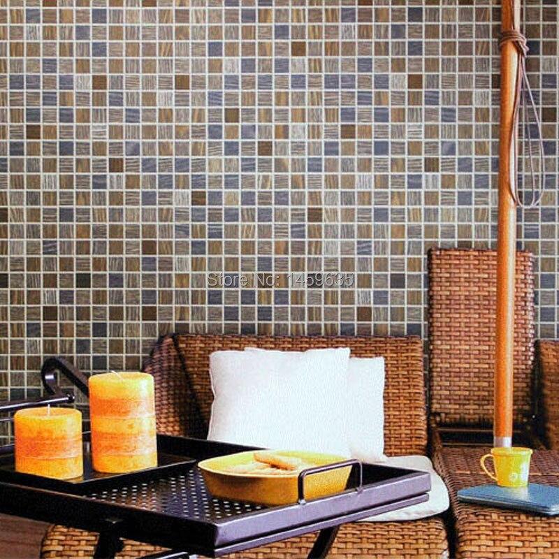 Modern imitation of mosaic wallpaper three-dimensional plaid waterproof pvc bathroom wall wallpaper a three dimensional embroidery of flowers trees and fruits chinese embroidery handmade art design book