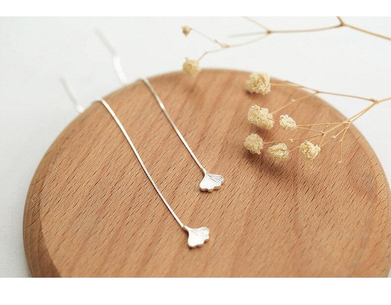 Ginkgo Leaf Tassel Drop Earring Long 925 Sterling Silver Earrings Female Engagement Wedding Birthstone Fine Jewelry Drop Earring in Earrings from Jewelry Accessories