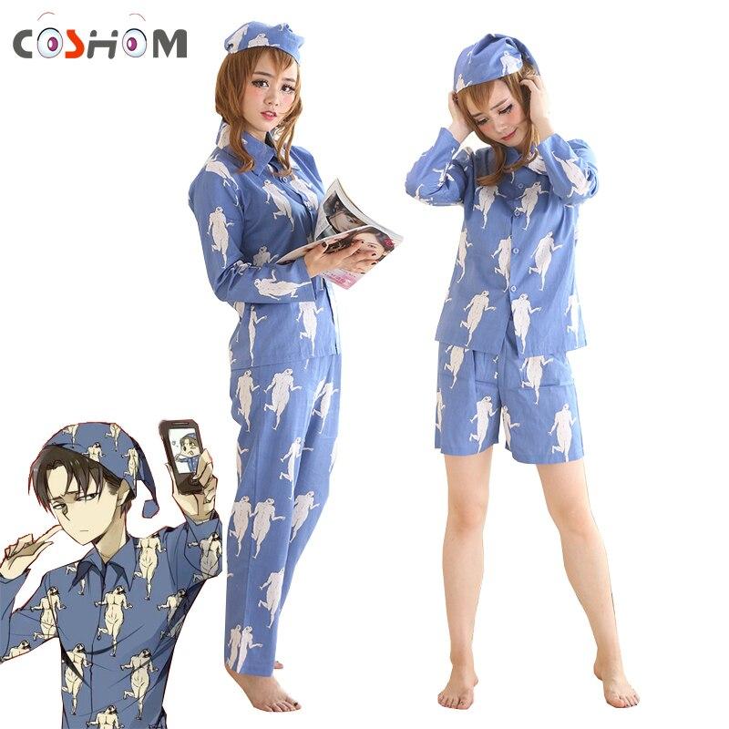 Pyjama Coshome Levi vêtements de nuit attaque sur Titan Pyjamas Shingeki No Kyojin Cosplay Costumes adultes Pijamas hauts pantalons avec chapeaux